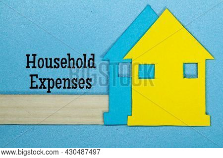 Colored Paper Houses With The Words Household Expenses