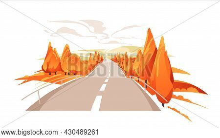 Emty Road To The Hills. Scenic Autumn Landscape With Asphalt Road Passing To High Hills. Traveling A