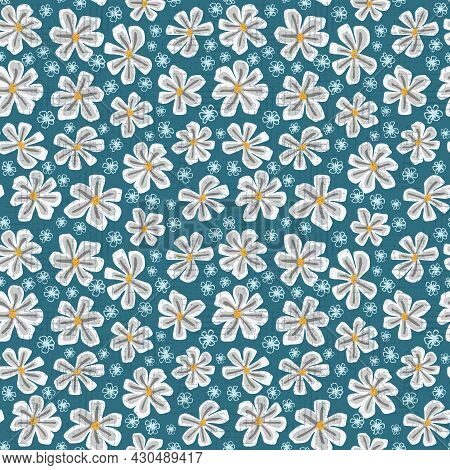 Seamless Kids Pattern With White Flowers. Creative Kids Floral Texture For Fabric, Wrapping, Textile