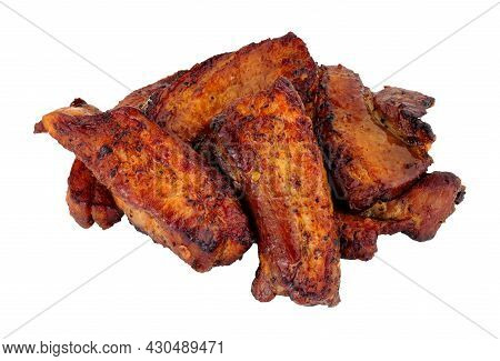Group Of Grilled Pork Belly Slices Isolated On A White Background