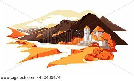 Roman Style Mountain Castle In Autumn Landscape. Europe, France, German, Gerorgia Flat Colorful Illu
