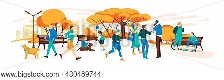 Set Of People Having Rest In The Autumn Park.various Outdoor Activities In The Urban Park.illustrati