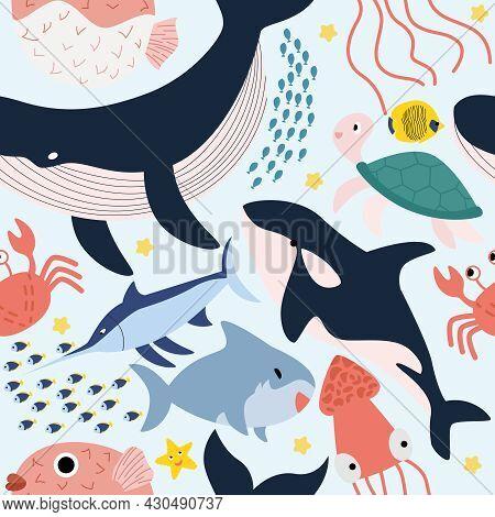 Seamless Pattern Marine Animals Blue Background Underwater World Marine Life Vector Illustration Fla
