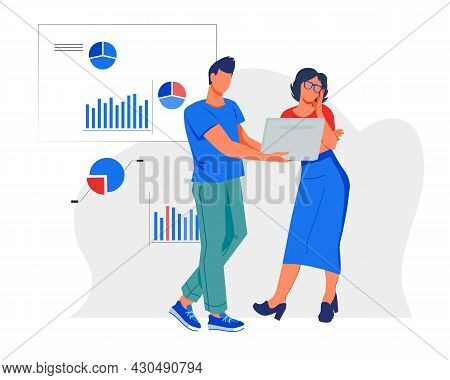 Business People Teamwork And Collaboration. Man And Woman Working Together In Office, Flat Vector Il