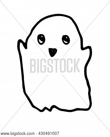 Vector Cute Ghost. A Hand-drawn Cartoon Flying Ghost With A Funny Face In The Style Of Doodles, Isol