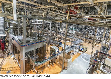 Moscow, Russia - July 26, 2015: Equipment For Brewing Beer On The Territory.of Moscow Brewing Compan