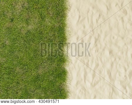 Background With One Half Beach Sand And The Other Half Green Grass. 3d Rendering
