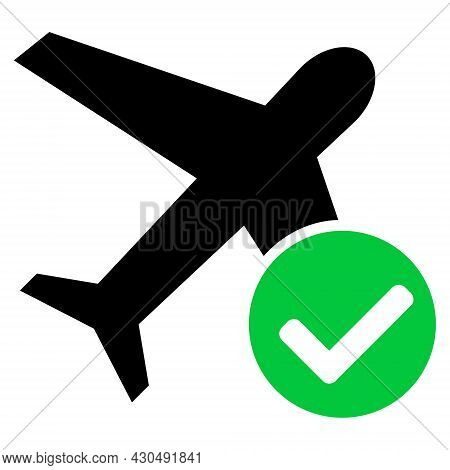 Accept Airplane Icon With Flat Style. Isolated Vector Accept Airplane Icon Image On A White Backgrou