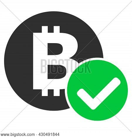 Accept Bitcoin Icon With Flat Style. Isolated Vector Accept Bitcoin Icon Image On A White Background
