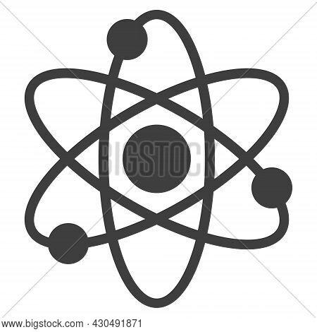 Atom Electrons Icon With Flat Style. Isolated Vector Atom Electrons Icon Image On A White Background
