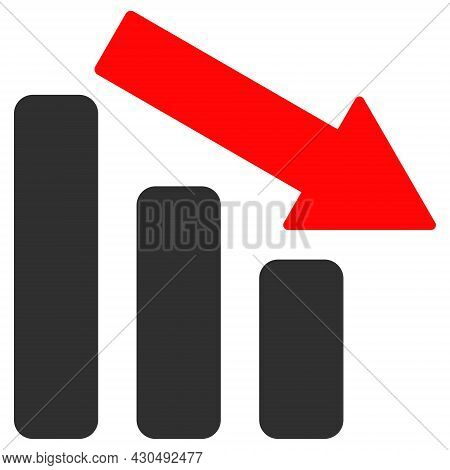 Down Trend Bar Chart Icon With Flat Style. Isolated Vector Down Trend Bar Chart Icon Image On A Whit