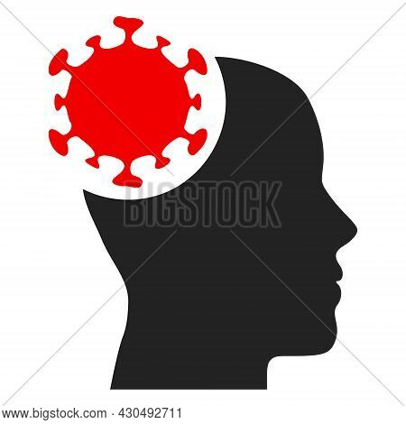 Head Virus Icon With Flat Style. Isolated Vector Head Virus Icon Image On A White Background.