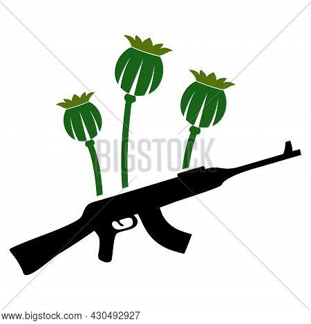 Opium Poppy Crime Icon With Flat Style. Isolated Vector Opium Poppy Crime Icon Image On A White Back
