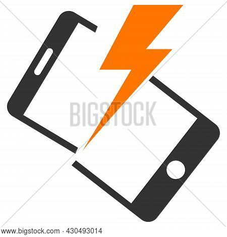 Smartphone Crash Icon With Flat Style. Isolated Vector Smartphone Crash Icon Image On A White Backgr