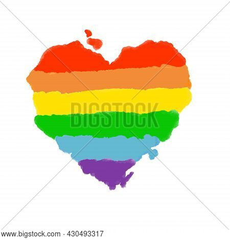 Rainbow Color Hand Aquarel Drawing Heart Shape, Vector Eps 10