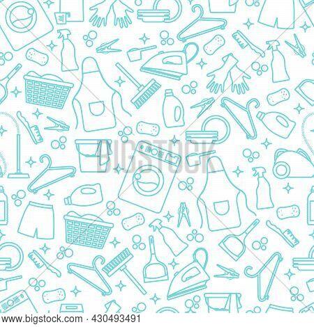 Vector Seamless Pattern Illustration Cleaning Maid Service Housekeeping Washing Machine Crockery Det