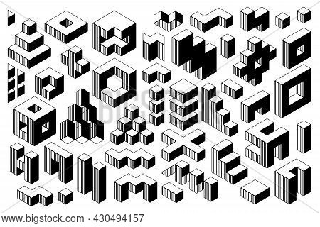 Abstract Black And White Geometric Vector Shapes. Memphis Set From Isometric Geometrical Figures And