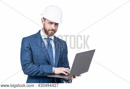 Chief Engineer In Hardhat Use Computer. Mature Ceo Checking Email. Serious Man Boss.