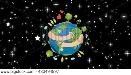 Composition of arms hugging globe on starry night sky background. global conservation and earth day concept digitally generated image.