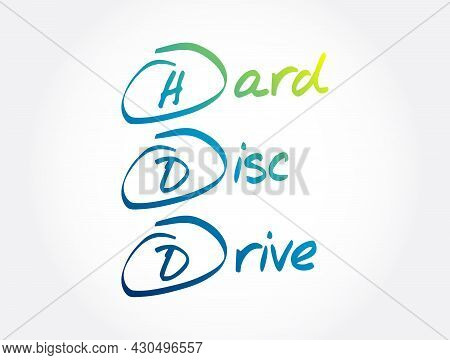 Hdd - Hard Disc Drive Acronym, Technology Concept Background
