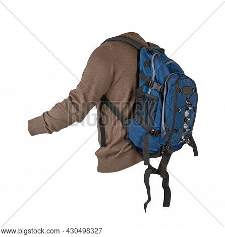 Blue Backpack Dressed In Knitted Brown Sweater Isolated On A White Background. Backpack And Male Swe