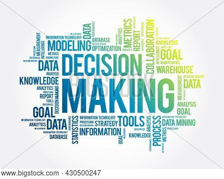 Decision Making Word Cloud Collage, Business Concept Background