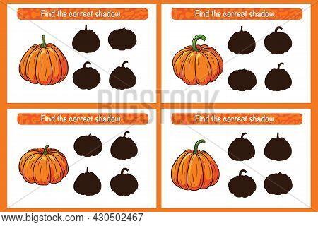 Find Correct Pumpkin Shadow Educational Game For Kids. Shadow Matching Activity For Children. Presch