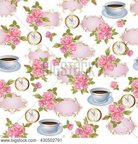 Pattern With Frames And Roses.clock, Openwork Frames With Bouquets Of Roses On A White Background In