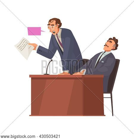 Law Justice Composition With Characters Of Speaking Attorney And Sitting Client Vector Illustration