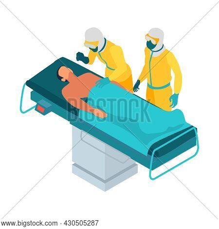 Isometric Infectious Disease Doctor Scientist Virologist Composition With Two Medics In Chemical Sui