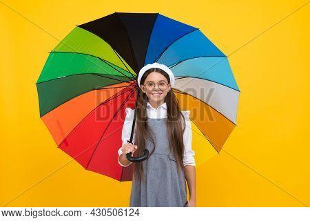 Rainy Weather Forecast. Back To School. Tween With Vivid Rain Protection. Happy School Girl