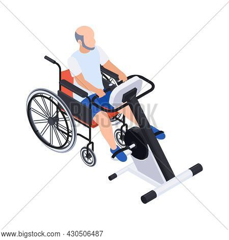 Physiotherapy Rehabilitation Isometric Composition With Man On Wheelchair With Training Machine Vect