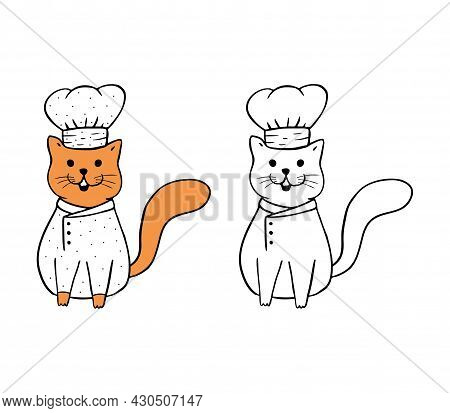 Cute Orange Cat Chef, Funny Cat In Chef's Uniform And Hat Isolated On White Background.