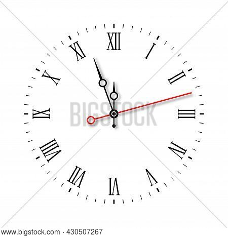 Modern Elegant Black Wall Clock Face With Red Second Hand Isolated On White Background. Vector Illus