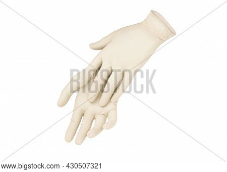 Two White Surgical Medical Gloves Isolated On White Background With Hands. Rubber Glove Manufacturin