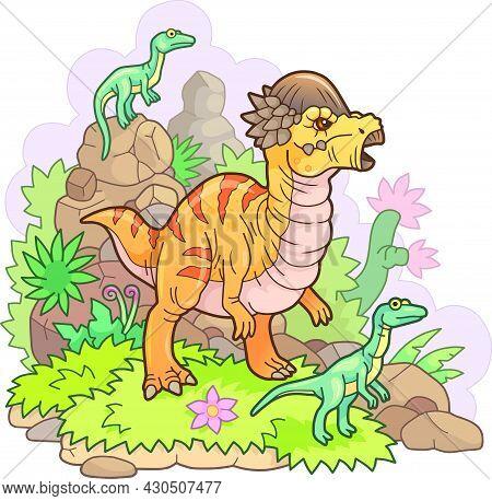 Cartoon Cute Prehistoric Dinosaur Pachycephalosaurus, Funny Illustration