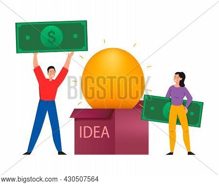 Crowdfunding Composition With Flat Icons Of Lamp Inside Idea Box And People With Banknotes Vector Il