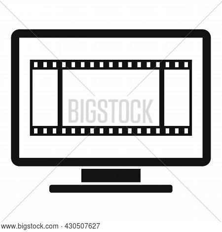 Fast Video Edit Icon Simple Vector. Cinema Film. Send Recorder
