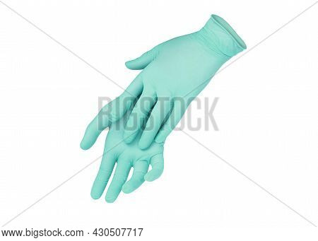Medical Gloves. Two Green Surgical Gloves Isolated On White Background With Hands. Rubber Glove Manu