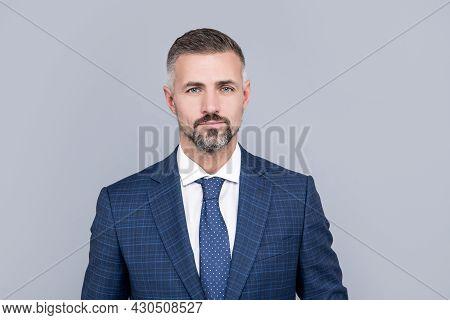 Mature Businessperson Portrait In Formalwear. Business Success. Successful Man In Businesslike Suit.