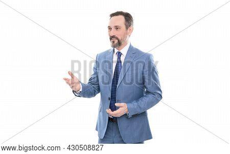 Business Communication. Successful Man In Businesslike Suit. Entrepreneur Is Speaking.