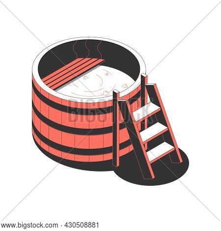 Sauna Bath Spa Isometric Composition With Isolated Image Of Sauna Bucket Shaped Pool With Ladder And
