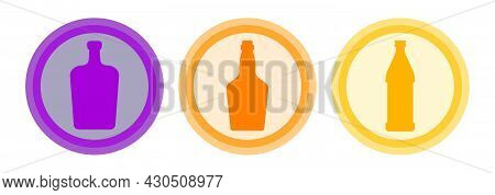 Bottle Of Liquor, Whiskey, Beer. Background Is Circle. Isolated Color Object Design Beverage. Graphi