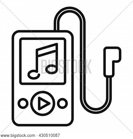 Music Player Icon Outline Vector. Playlist Song. Phone App