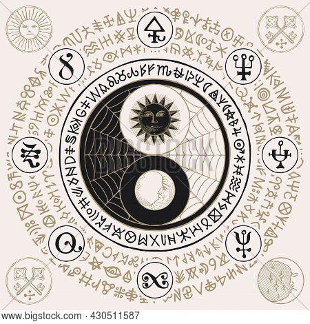 Vector Yin Yang Symbol With Sun, Moon, Cobweb And Magic Signs, Written In A Circle. Hand-drawn Styli