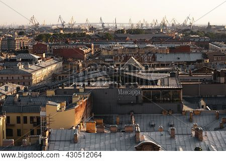 Top View Of The City Of St. Petersburg And Construction Cranes. View From The Colonnade Of St. Isaac