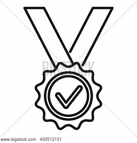 Reliability Medal Icon Outline Vector. Back Guarantee. Best Money