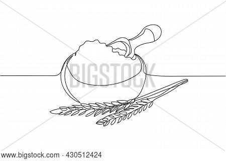 Continuous One Line Of Wheat Flour In Bowl And Spikelets In Silhouette. Linear Stylized.minimalist.