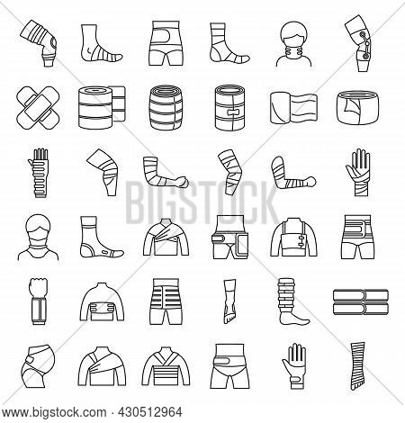 Bandage Icons Set Outline Vector. First Aid. Medical Trauma