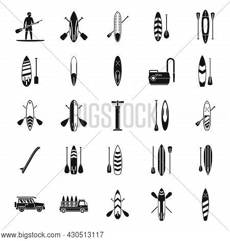 Sup Surfing Icons Set Simple Vector. Surf Board. Puddle Gear